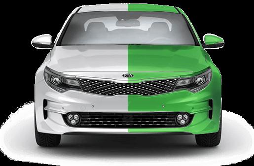 автомобиль бело-зеленый каско